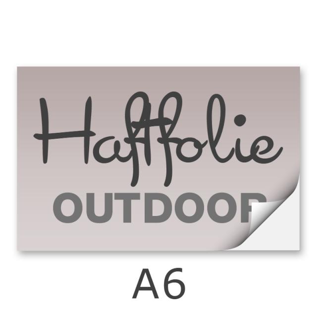 Aufkleber DIN A6 outdoor Haftfolie weiß mit Hochglanz-UV-Lack (witterungsbeständig)