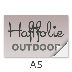 Aufkleber DIN A5 outdoor Haftfolie weiß mit Hochglanz-UV-Lack (witterungsbeständig)