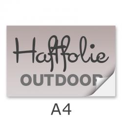 Aufkleber DIN A4 outdoor Haftfolie weiß mit Hochglanz-UV-Lack (witterungsbeständig)