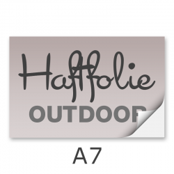 Aufkleber DIN A7 outdoor Haftfolie weiß mit Hochglanz-UV-Lack (witterungsbeständig)